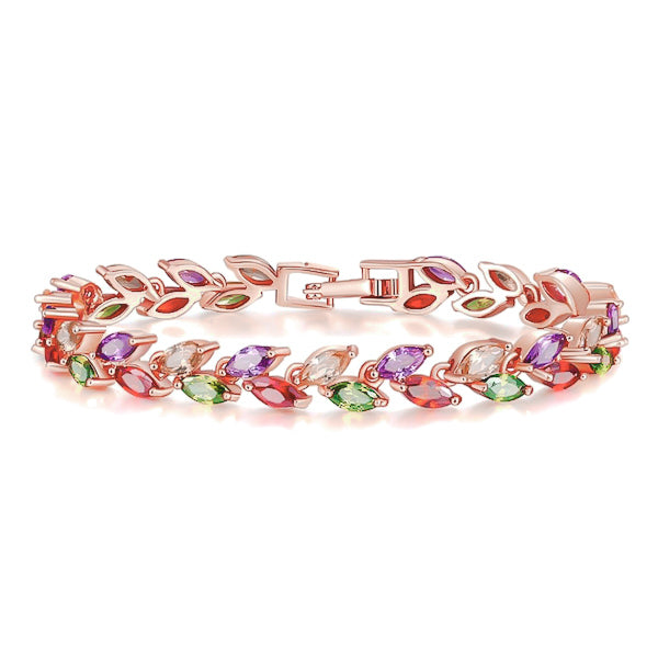 Colorful crystal leaf bracelet