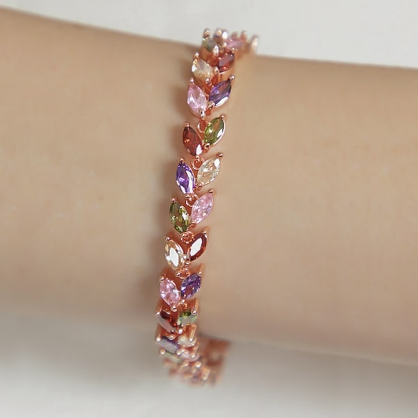 Colorful multicolor crystal leaf bracelet