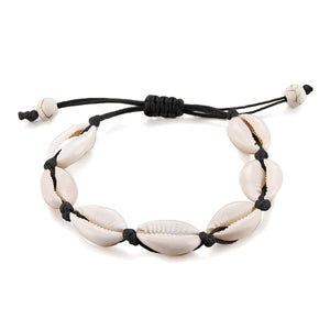 Cowrie shell anklet with black rope