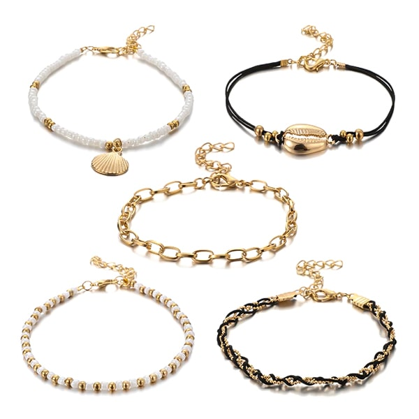 Cowrie shell & seashell anklet set in black, white, and gold colors