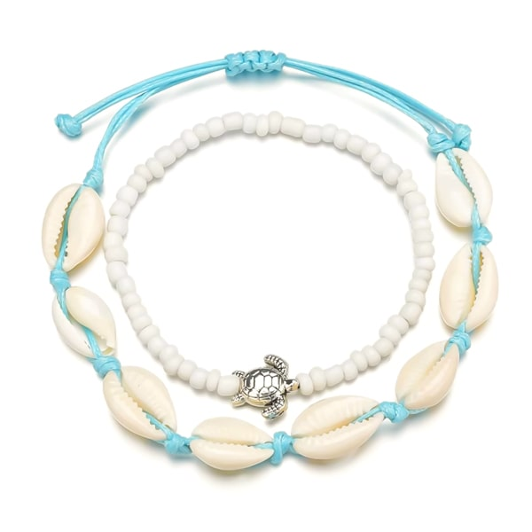 Cowrie shell & turtle anklet set
