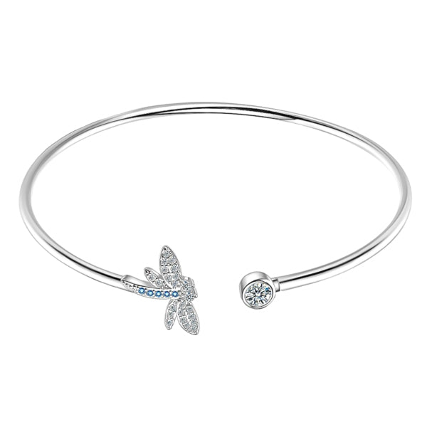 Dragonfly cuff bracelet with silver plating and blue cubic zirconia