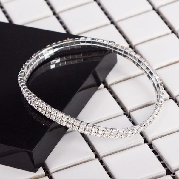 Elastic 2-Row Crystal Diamond Tennis Anklet