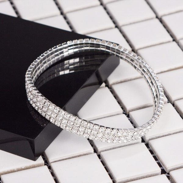 Elastic 3-Row Crystal Diamond Tennis Anklet