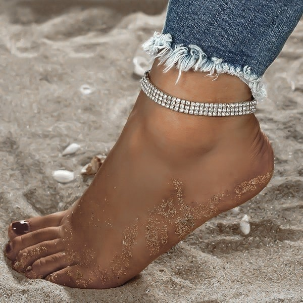 Elastic 3-Row Crystal Tennis Ankle Bracelet