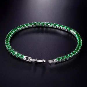 4mm tennis bracelet with emerald green cubic zirconia