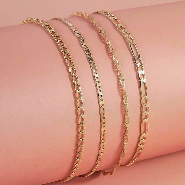 Gold ankle chain set