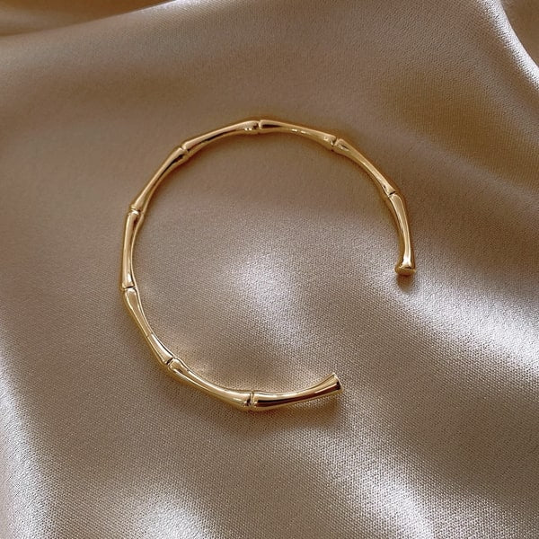 Gold bamboo cuff bracelet for women