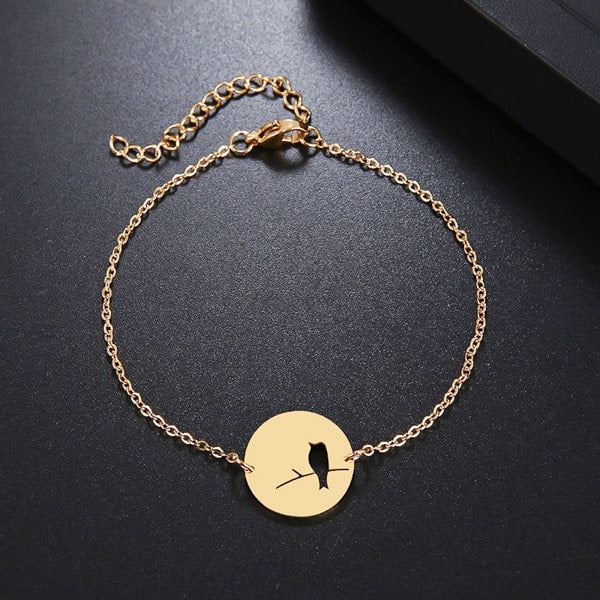 Waterproof gold bird bracelet
