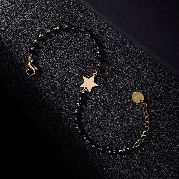 Waterproof gold star bracelet made of stainless steel and black beads