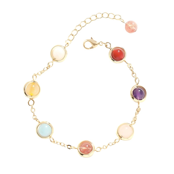 Gold bracelet with pastel color beads