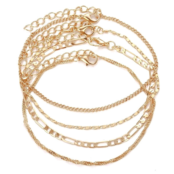 Gold ankle bracelet chain set