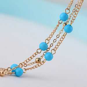 Turquoise beads on a gold chain anklet