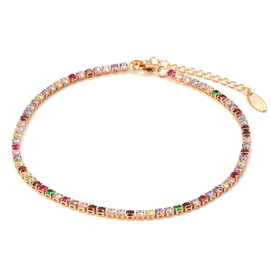 Gold Colorful Crystal Tennis Anklet