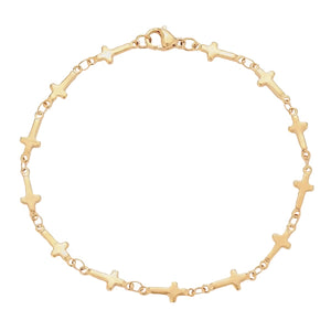 Gold cross chain bracelet