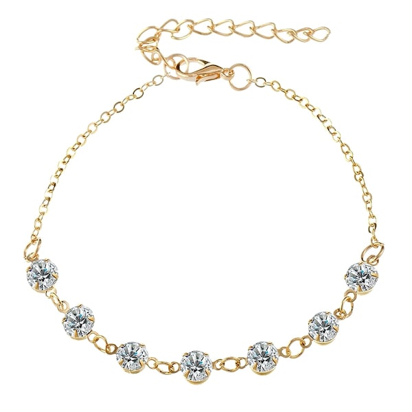 Classy Women Gold Delicate Crystal Anklet