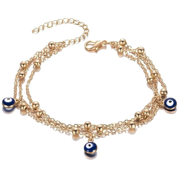 Gold layered evil eye anklet