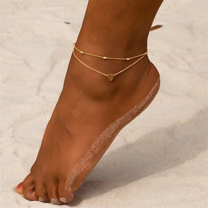 Gold heart ankle bracelet set