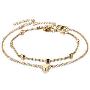 Gold heart anklet set