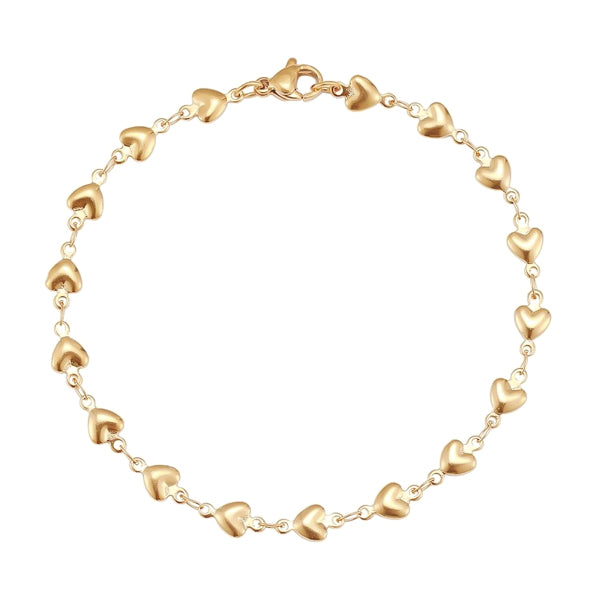 Gold heart chain bracelet