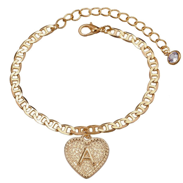 Gold initial letter anklet with heart charm