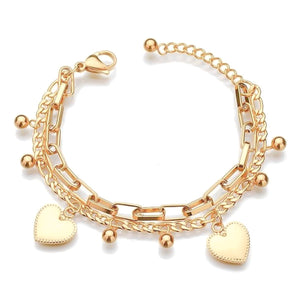Gold layered heart charm bracelet