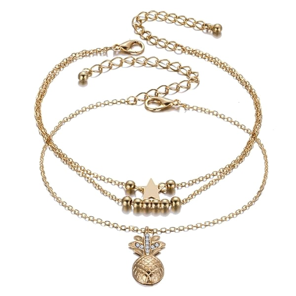 Gold Pineapple Anklet Set