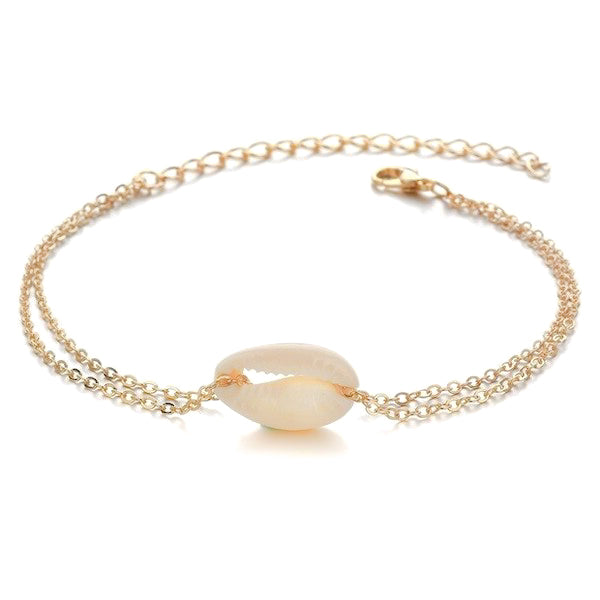 Delicate gold seashell anklet