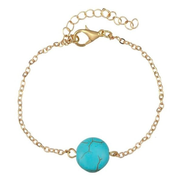Gold anklet with turquoise stone