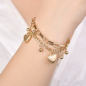 Gold two-layer heart charm bracelet