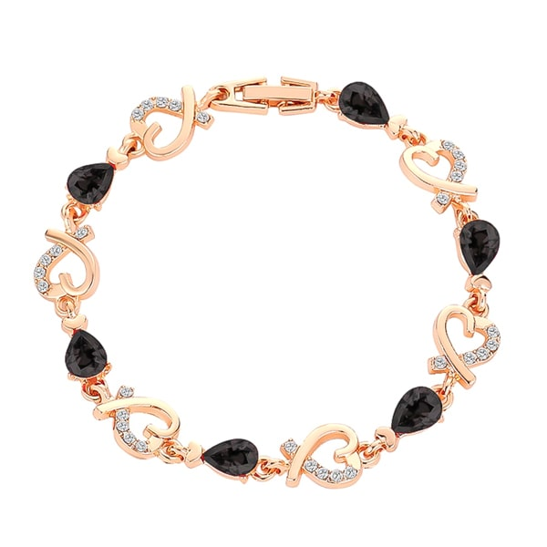 Gold heart chain bracelet with black crystals