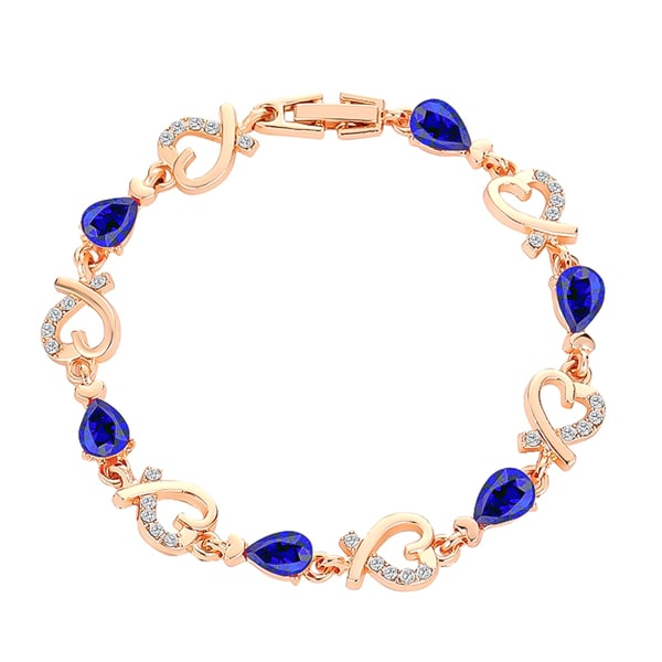 Gold heart chain bracelet with blue crystals
