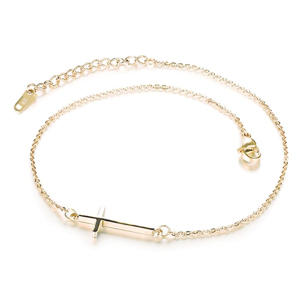 Gold cross anklet