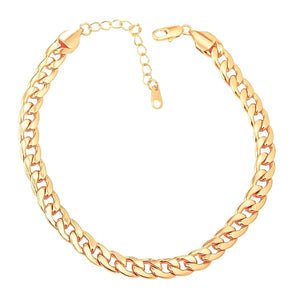 Gold Cuban link chain anklet