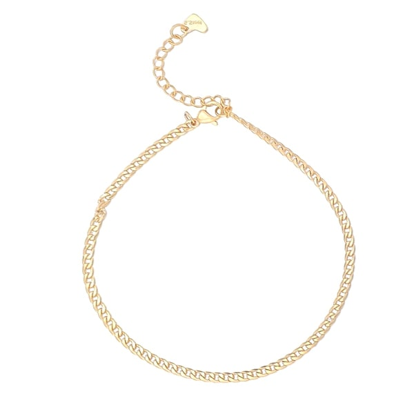 Gold curb chain anklet