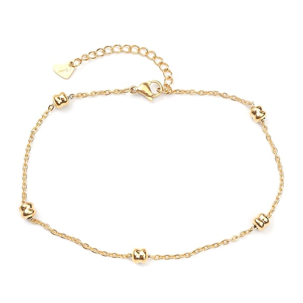 Gold dainty beaded chain anklet