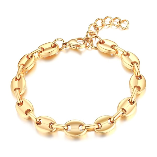 Gold designer cable chain bracelet