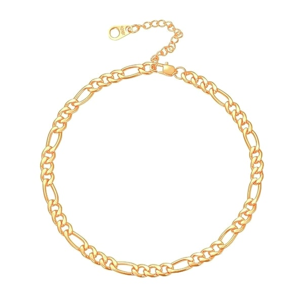 Gold 5mm figaro chain anklet