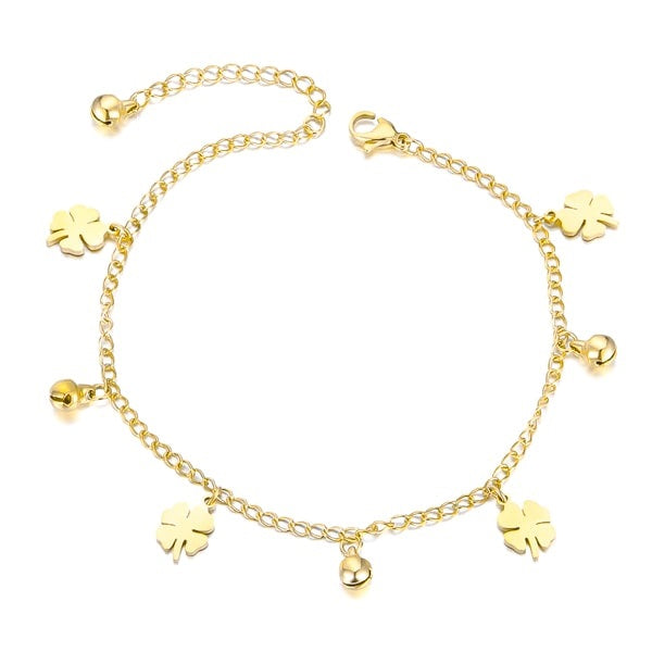 Gold four-leaf clover anklet