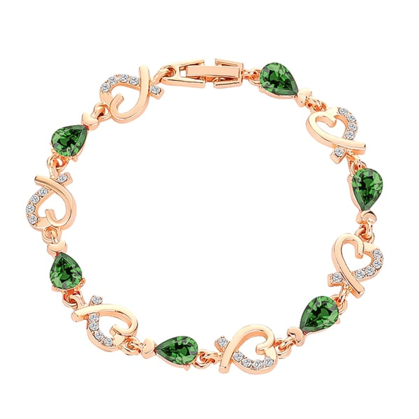 Gold heart chain bracelet with green crystals
