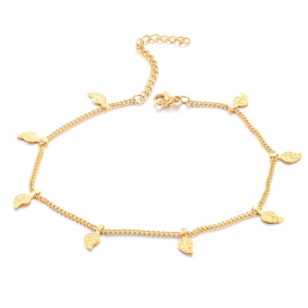 Gold leaf lucky charm anklet