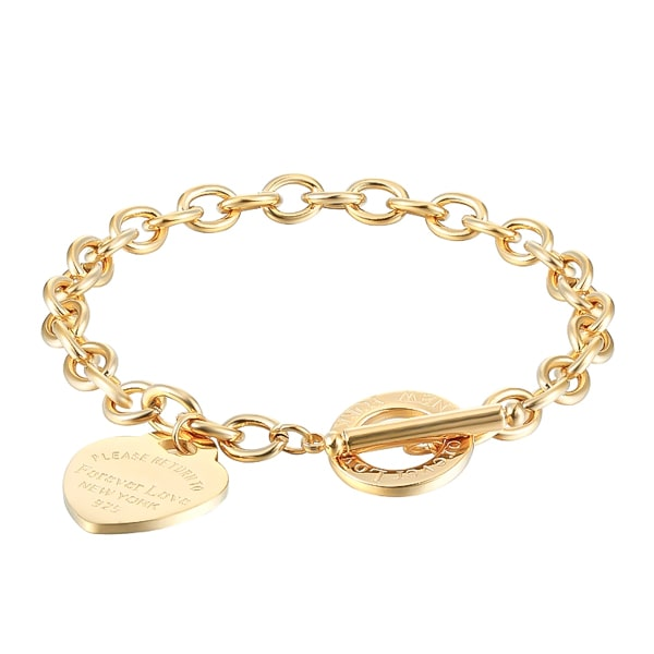 Gold love heart chain bracelet