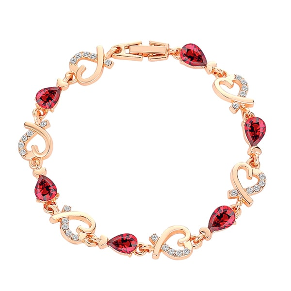 Gold heart chain bracelet with red crystals
