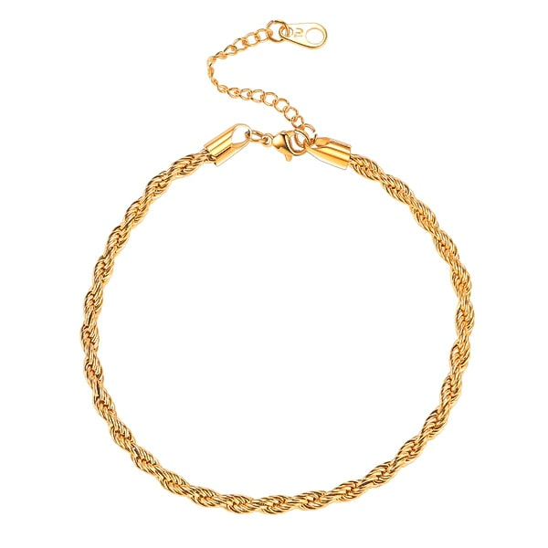 Gold rope chain anklet on a white background