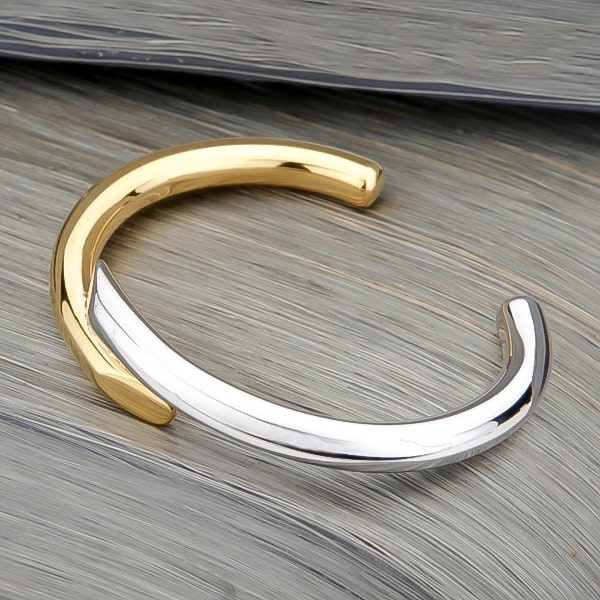 Gold & silver harmony cuff bracelet viewed from its side