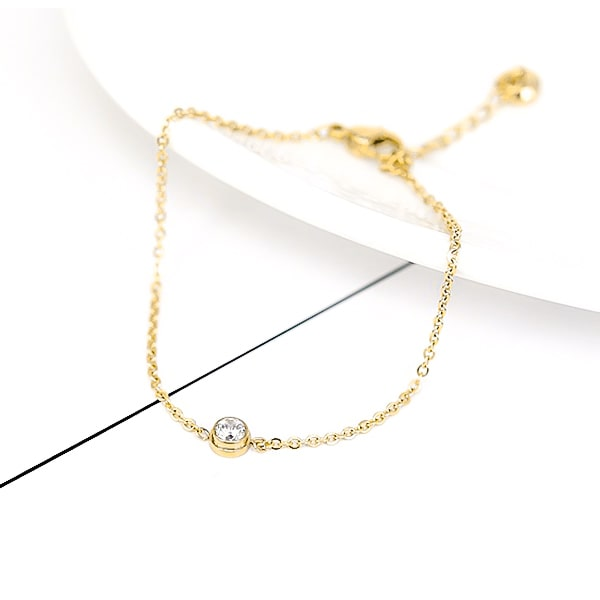 Gold simple crystal ankle bracelet details