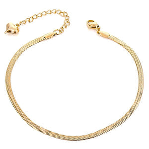 Gold snake chain anklet on a white background