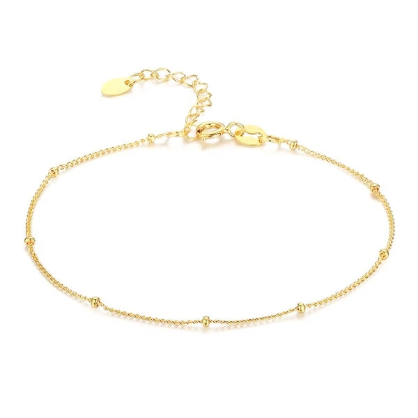 Gold vermeil beaded chain anklet