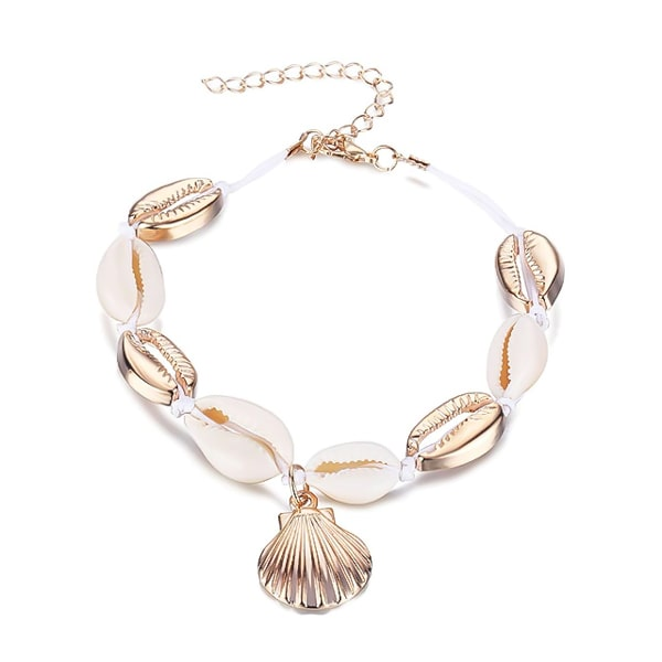 Gold and white seashell cowrie shell anklet