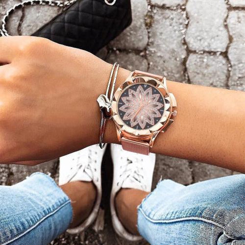 Classy Women Rose Gold Flower Watch | watches - Classy Women Collection